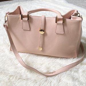 Blush handbag - genuine leather